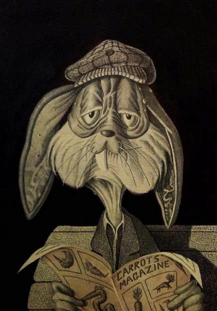 Bugs Bunny, 2016, penna biro, china, acquerello, pennini ad inchiostro su carta incollata su legno, cm 70x50