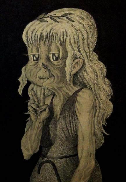 Pollon, 2016, penna biro, china, acquerello, pennini ad inchiostro su carta incollata su legno, cm 70x50