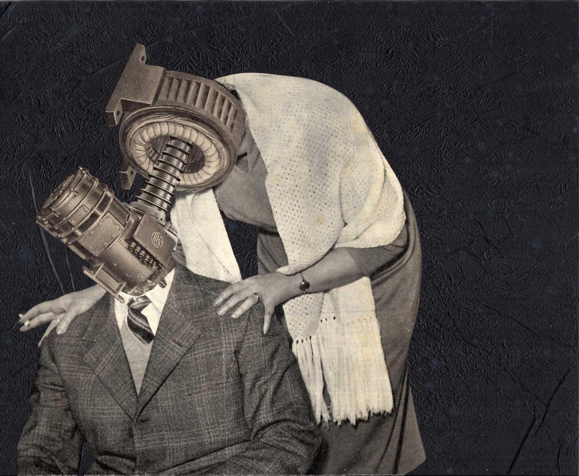 Il bacio, 2015, collage di carta su tavola di legno
